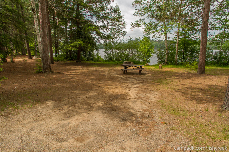 Campsite Photo of Site 6 at Fish Creek Pond Campground, New York - Looking at Site from Road