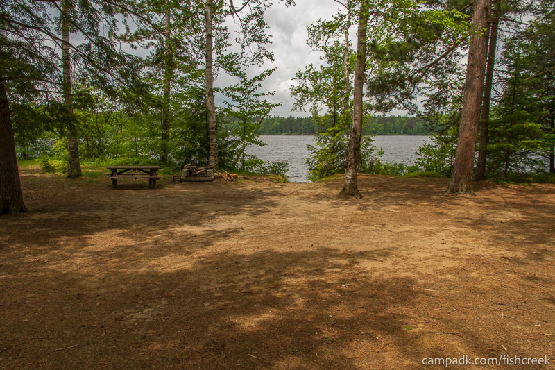 Campsite Photo of Site 4 at Fish Creek Pond Campground, New York - Looking at Site from Part Way In