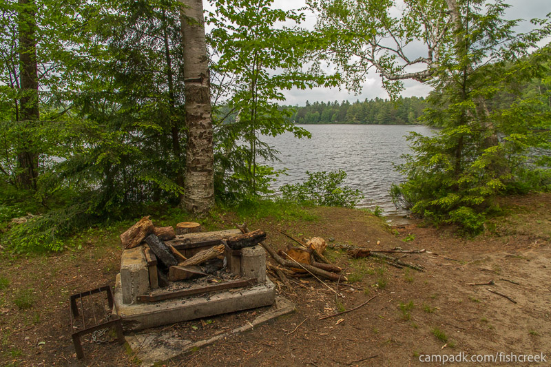Campsite Photo of Site 4 at Fish Creek Pond Campground, New York - Fireplace View