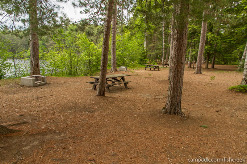 Campsite Photo of Site 2 at Fish Creek Pond Campground, New York - Cross Site View