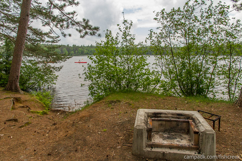 Campsite Photo of Site 2 at Fish Creek Pond Campground, New York - Fireplace View