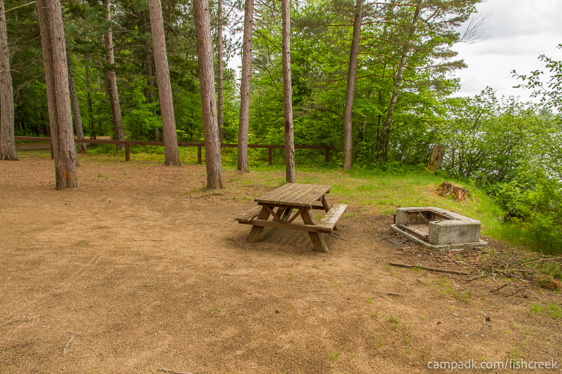 Campsite Photo of Site 1W at Fish Creek Pond Campground, New York - Cross Site View