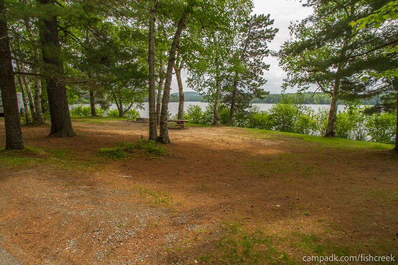 Campsite Photo of Site 105 at Fish Creek Pond Campground, New York - Looking at Site from Road