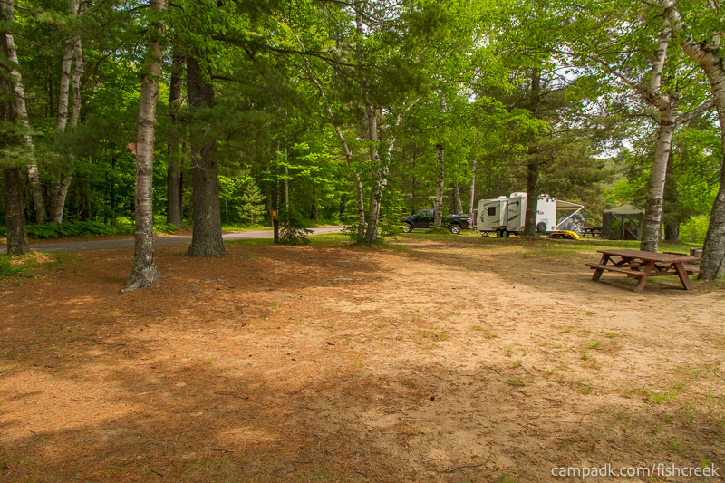 Campsite Photo of Site 105 at Fish Creek Pond Campground, New York - Cross Site View