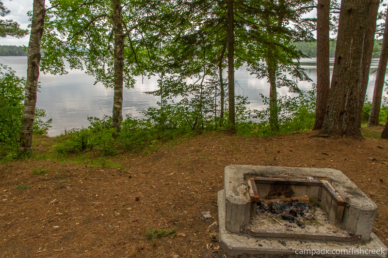 Campsite Photo of Site 126 at Fish Creek Pond Campground, New York - Fireplace View