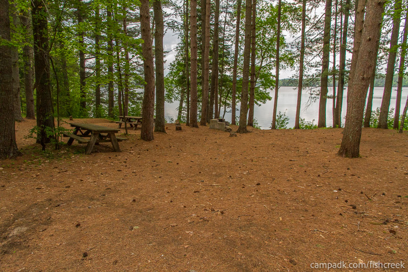 Campsite Photo of Site 127 at Fish Creek Pond Campground, New York - Looking at Site from Road