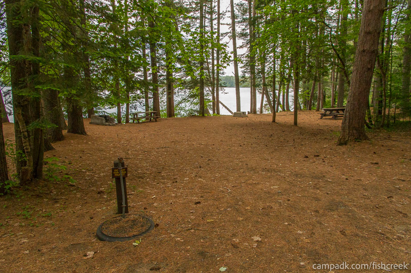 Campsite Photo of Site 131 at Fish Creek Pond Campground, New York - Looking at Site from Road