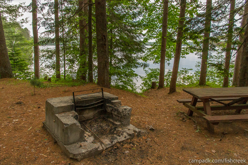 Campsite Photo of Site 131 at Fish Creek Pond Campground, New York - Fireplace View