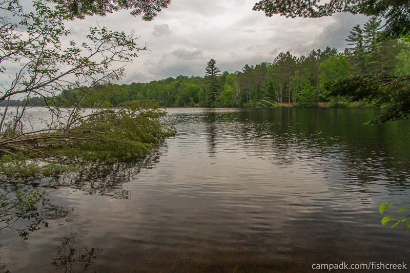 Campsite Photo of Site 161 at Fish Creek Pond Campground, New York - View from Shoreline