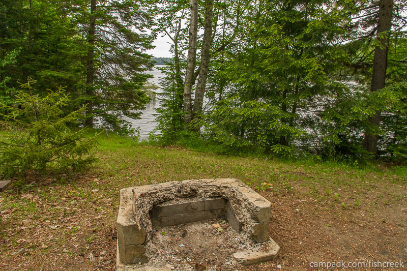 Campsite Photo of Site 163 at Fish Creek Pond Campground, New York - Fireplace View