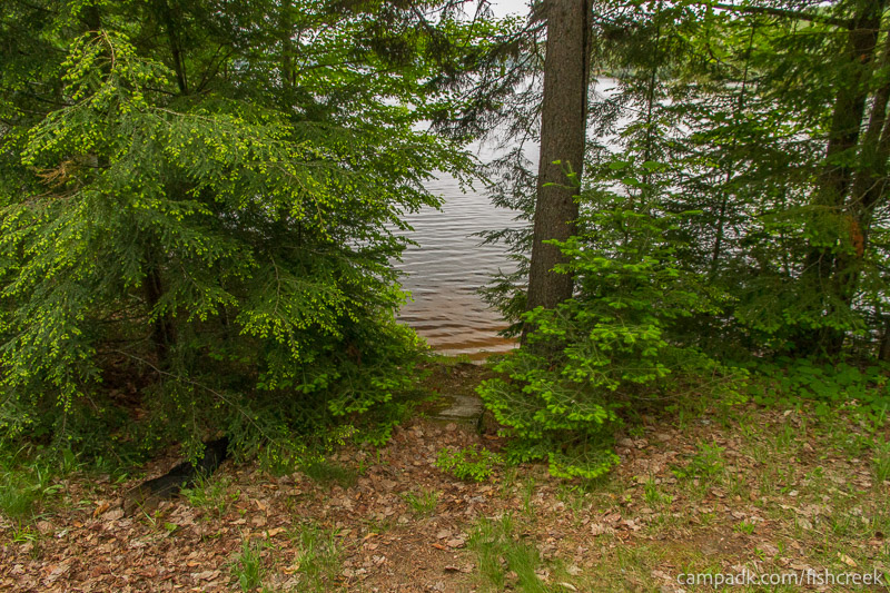 Campsite Photo of Site 163 at Fish Creek Pond Campground, New York - Pathway Down to Water