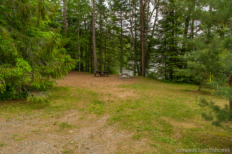 Campsite Photo of Site 166 at Fish Creek Pond Campground, New York - Looking at Site from Road