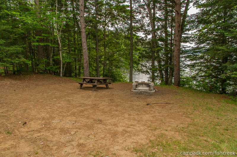 Campsite Photo of Site 166 at Fish Creek Pond Campground, New York - Looking at Site from Part Way In
