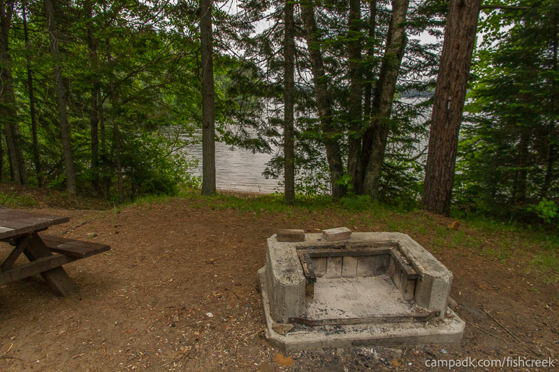 Campsite Photo of Site 166 at Fish Creek Pond Campground, New York - Fireplace View