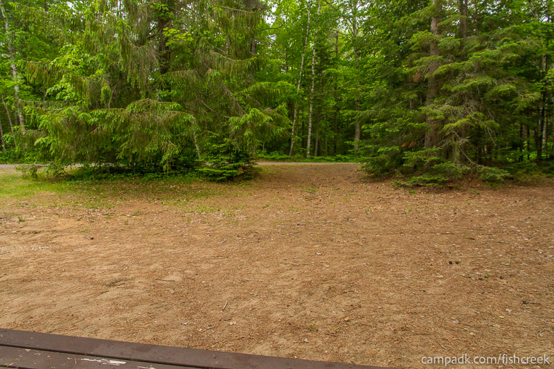 Campsite Photo of Site 166 at Fish Creek Pond Campground, New York - Looking Back Towards Road