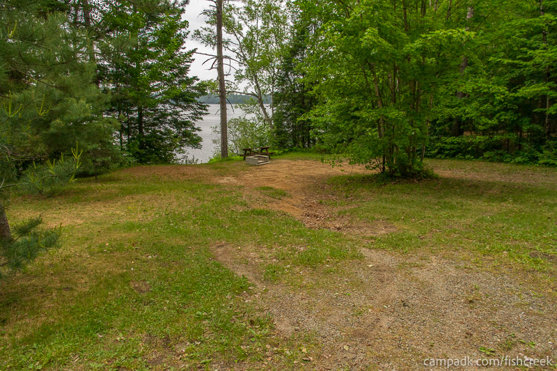 Campsite Photo of Site 167 at Fish Creek Pond Campground, New York - Looking at Site from Road