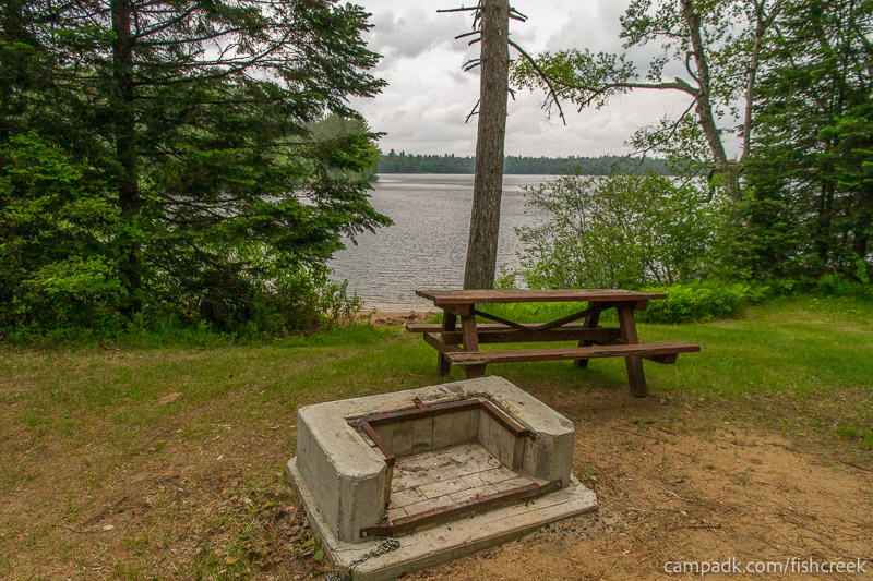 Campsite Photo of Site 167 at Fish Creek Pond Campground, New York - Fireplace View