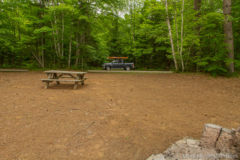 Campsite Photo of Site 263 at Fish Creek Pond Campground, New York - Looking Back Towards Road