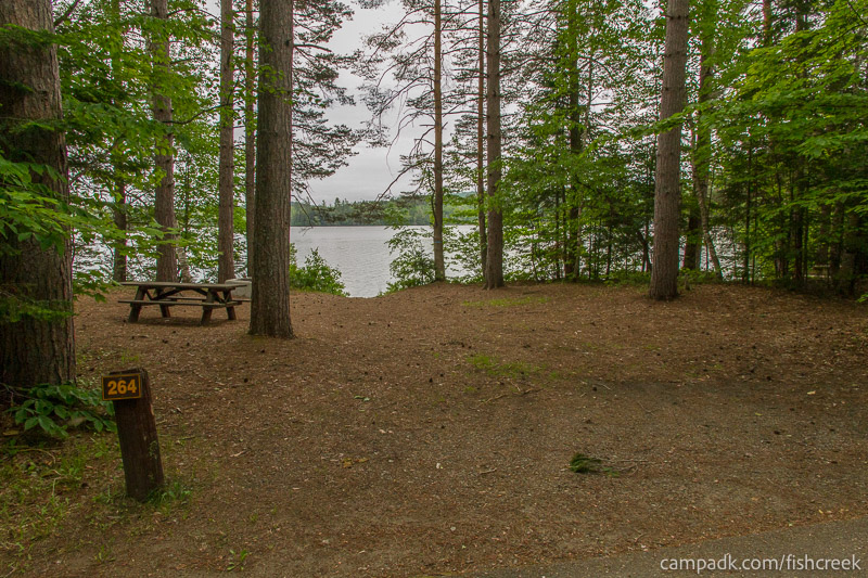Campsite Photo of Site 264 at Fish Creek Pond Campground, New York - Looking at Site from Road Sign Visible