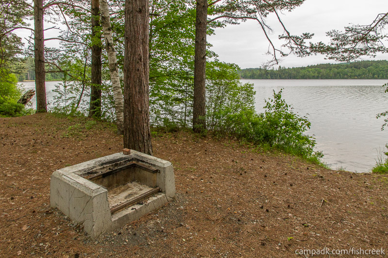 Campsite Photo of Site 264 at Fish Creek Pond Campground, New York - Fireplace View
