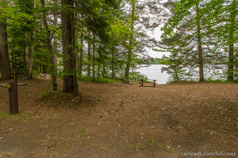 Campsite Photo of Site 266 at Fish Creek Pond Campground, New York - Looking at Site from Road Sign Visible