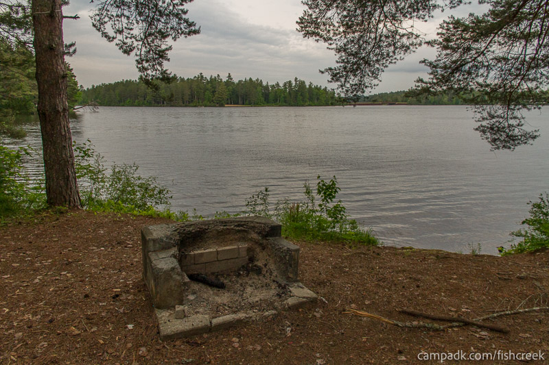 Campsite Photo of Site 269 at Fish Creek Pond Campground, New York - Fireplace View