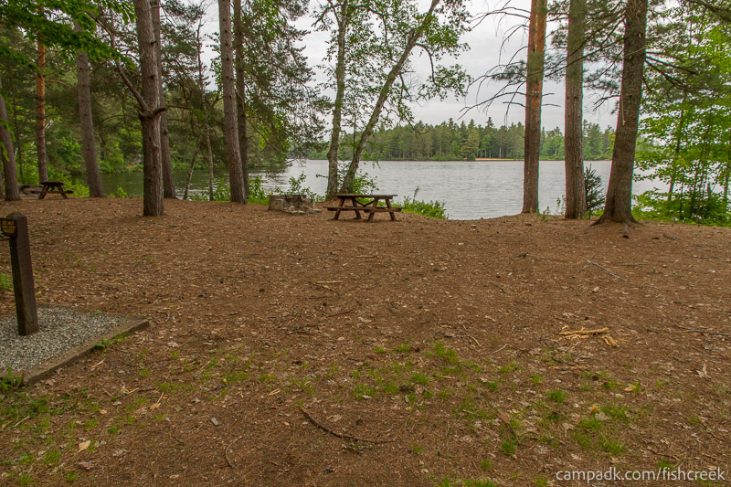 Campsite Photo of Site 270 at Fish Creek Pond Campground, New York - Looking at Site from Road