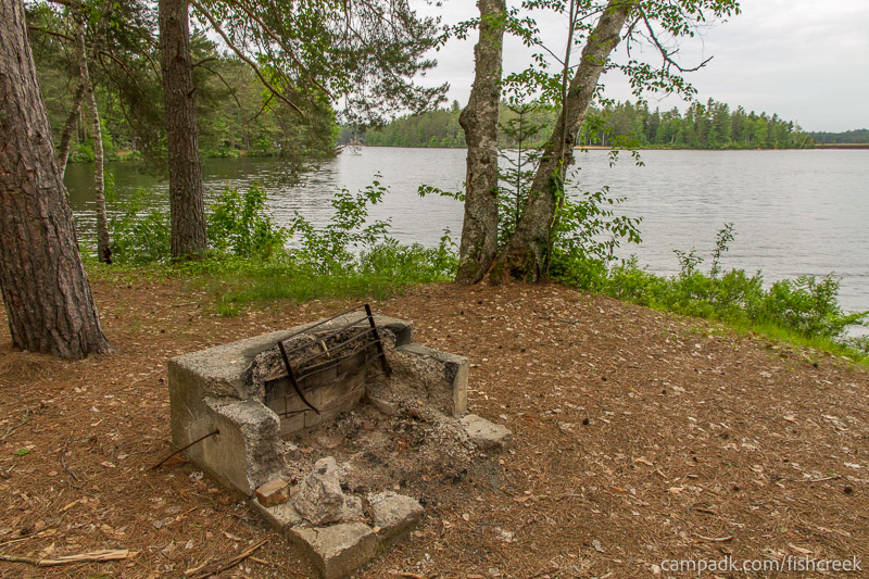 Campsite Photo of Site 270 at Fish Creek Pond Campground, New York - Fireplace View