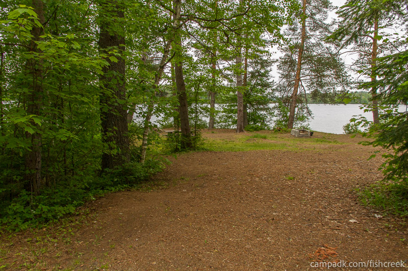 Campsite Photo of Site 273 at Fish Creek Pond Campground, New York - Looking at Site from Road