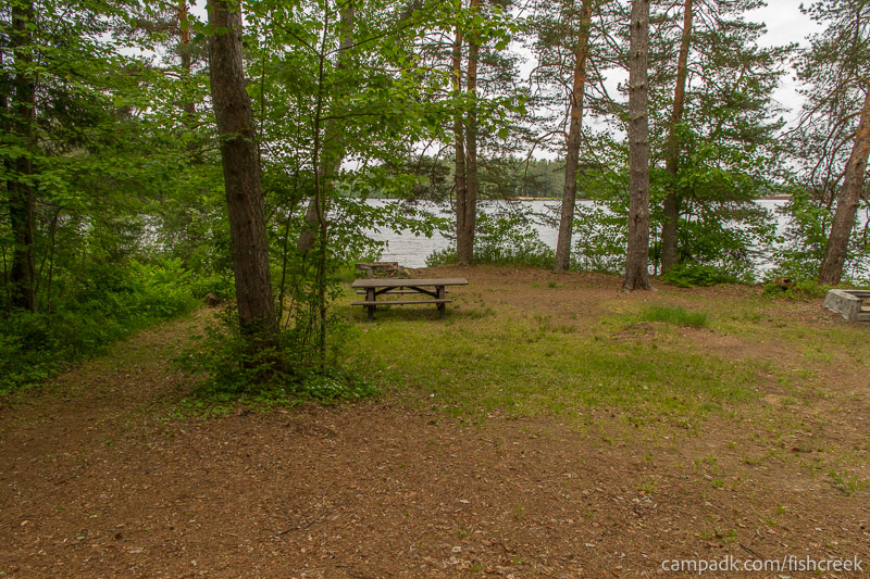 Campsite Photo of Site 273 at Fish Creek Pond Campground, New York - Looking at Site from Part Way In