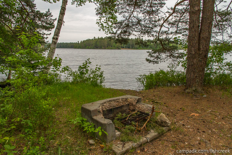 Campsite Photo of Site 273 at Fish Creek Pond Campground, New York - Fireplace View