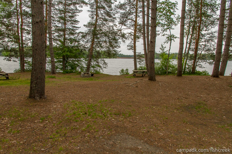 Campsite Photo of Site 274 at Fish Creek Pond Campground, New York - Looking at Site from Road