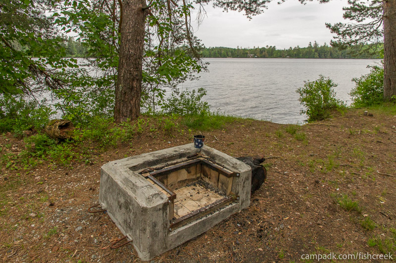 Campsite Photo of Site 274 at Fish Creek Pond Campground, New York - Fireplace View
