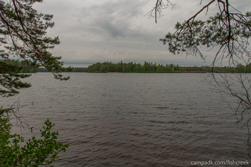 Campsite Photo of Site 285 at Fish Creek Pond Campground, New York - View from Shoreline