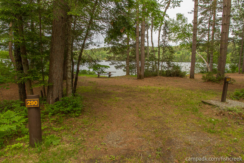 Campsite Photo of Site 290 at Fish Creek Pond Campground, New York - Looking at Site from Road Sign Visible