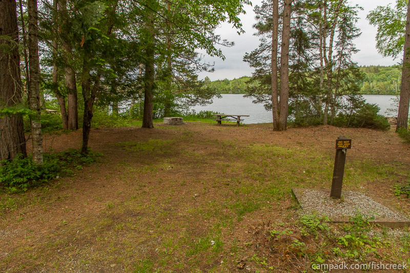 Campsite Photo of Site 290 at Fish Creek Pond Campground, New York - Looking at Site from Road