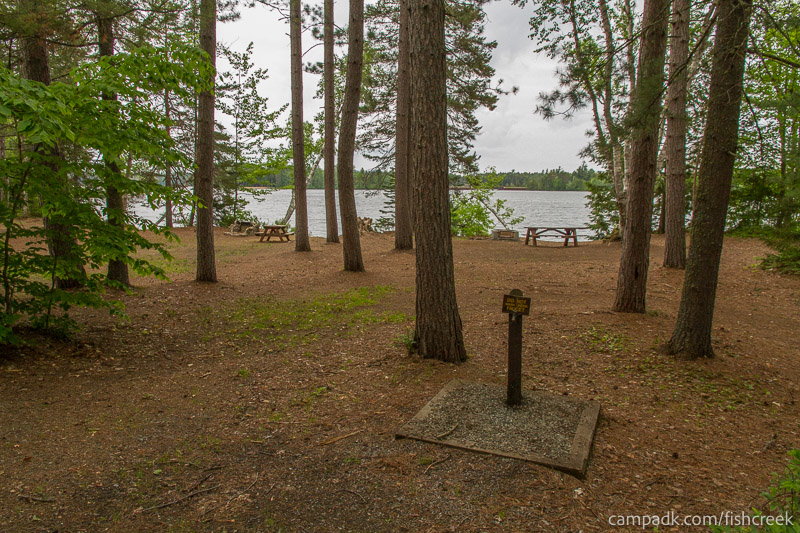 Campsite Photo of Site 299 at Fish Creek Pond Campground, New York - Looking at Site from Road
