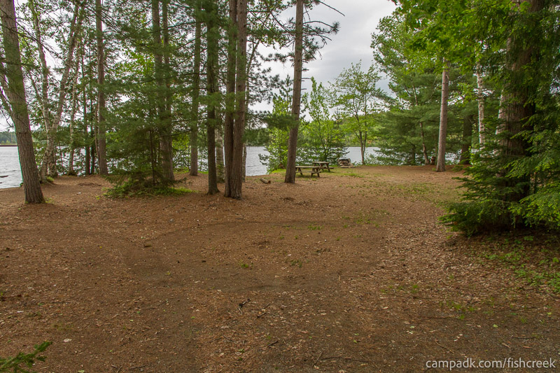 Campsite Photo of Site 300 at Fish Creek Pond Campground, New York - Looking at Site from Road
