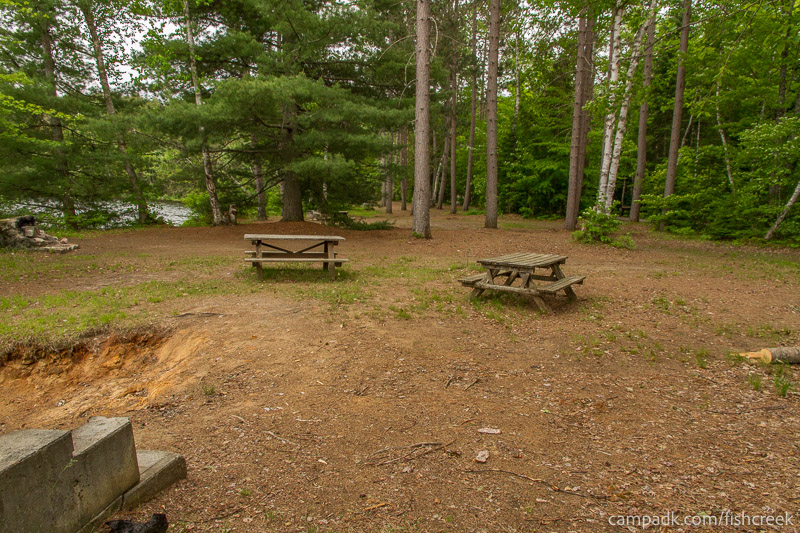 Campsite Photo of Site 300 at Fish Creek Pond Campground, New York - Cross Site View