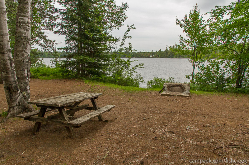 Campsite Photo of Site 303 at Fish Creek Pond Campground, New York - Looking at Site from Part Way In