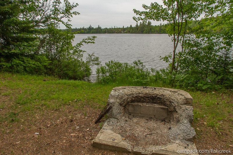 Campsite Photo of Site 303 at Fish Creek Pond Campground, New York - Fireplace View