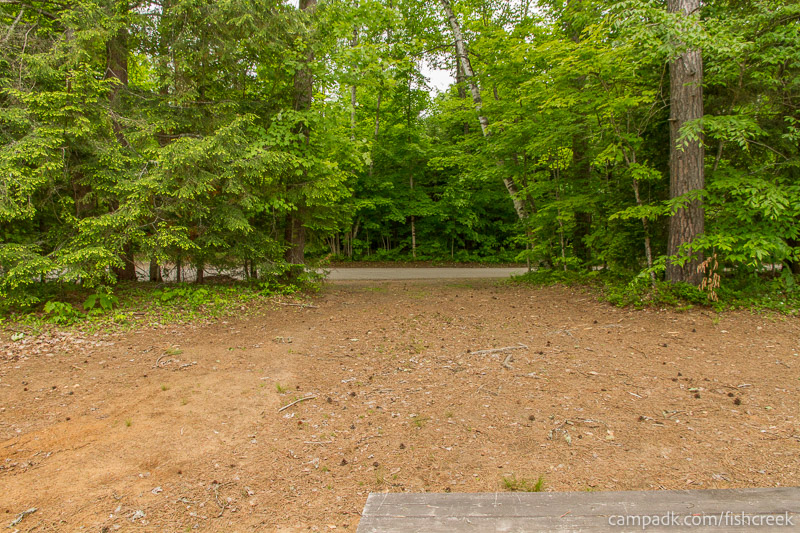 Campsite Photo of Site 304 at Fish Creek Pond Campground, New York - Looking Back Towards Road