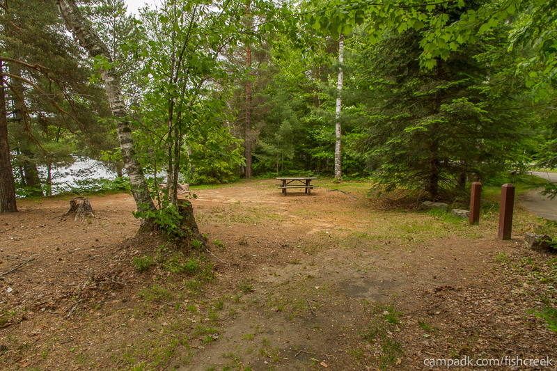 Campsite Photo of Site 305 at Fish Creek Pond Campground, New York - Looking at Site from Part Way In