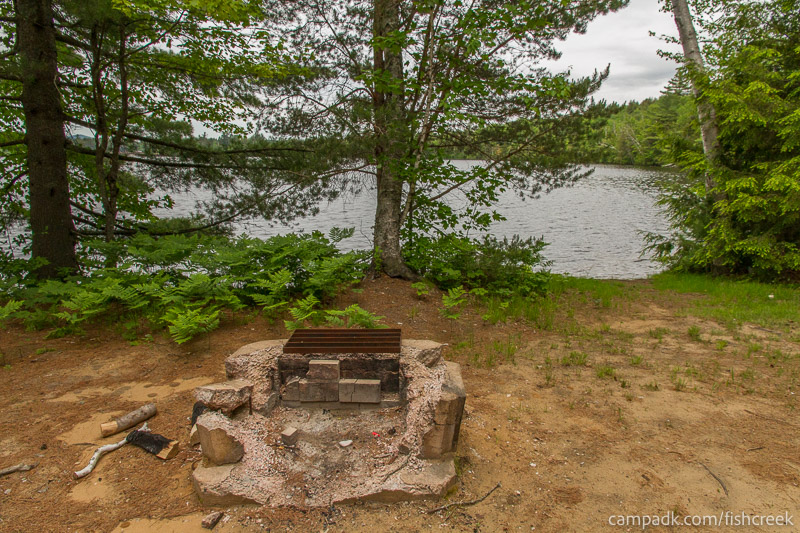 Campsite Photo of Site 305 at Fish Creek Pond Campground, New York - Fireplace View