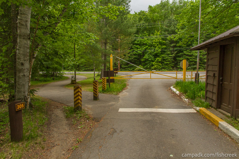 Campsite Photo of Site 305 at Fish Creek Pond Campground, New York - View Down Road from Campsite