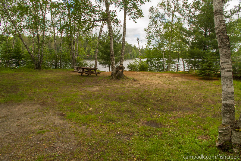 Campsite Photo of Site 180 at Fish Creek Pond Campground, New York - Looking at Site from Road