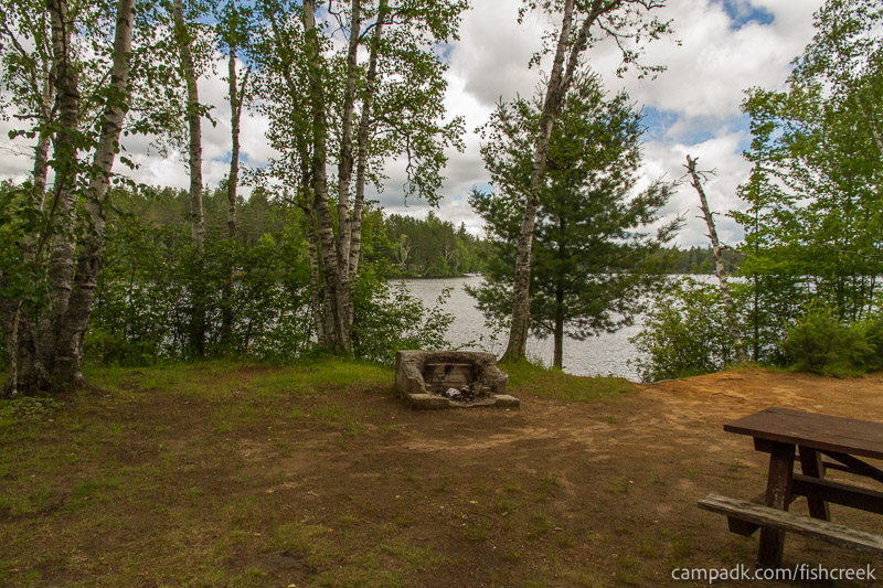 Campsite Photo of Site 180 at Fish Creek Pond Campground, New York - Looking at Site from Part Way In
