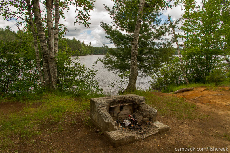 Campsite Photo of Site 180 at Fish Creek Pond Campground, New York - Fireplace View