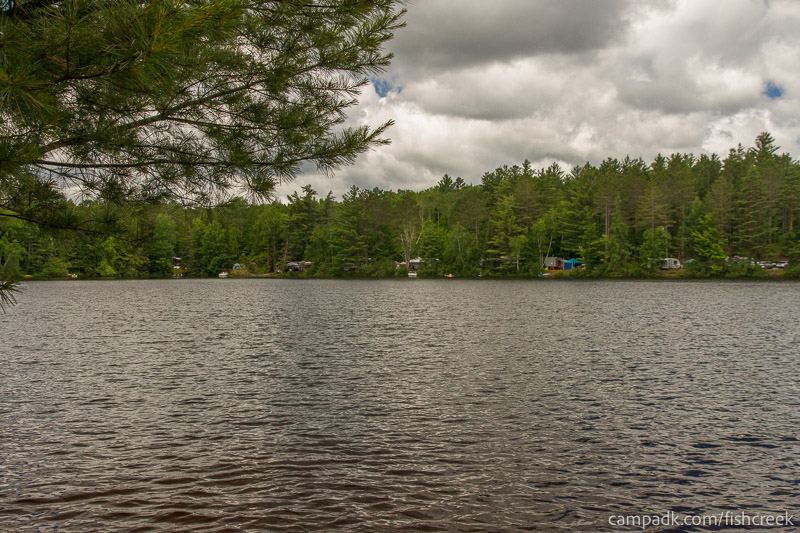 Campsite Photo of Site 180 at Fish Creek Pond Campground, New York - View from Shoreline