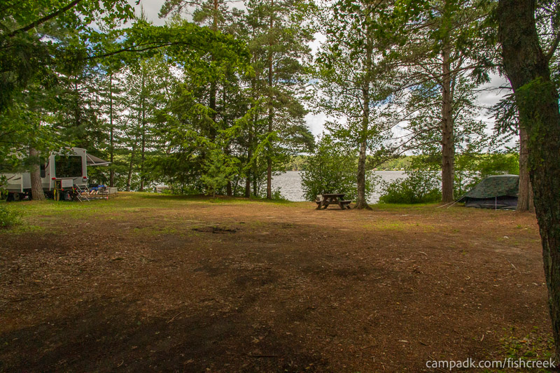 Campsite Photo of Site 209 at Fish Creek Pond Campground, New York - Looking at Site from Road